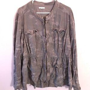 Camo print zip up shirt